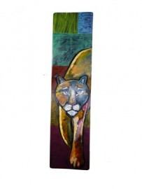 """Mountain Lion"" Painting on Wood by Leland Holiday, Navajo"